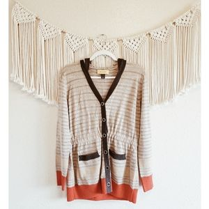 ST. JOHN Striped Button Down Hooded Knit Cardigan